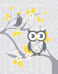 Modern Nursery Wall Art Gray Yellow Nursery by FancyPrintsforHome Owl Nursery, Nursery Prints, Nursery Room, Nursery Wall Art, Nursery Decor, Baby Room, Nursery Wallpaper, Nursery Ideas, Bedroom