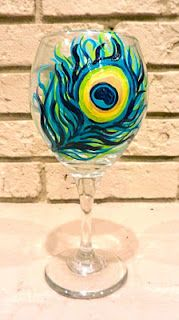 DIY Painting on Wine Glasses -- definitely going to make this feather one. :)