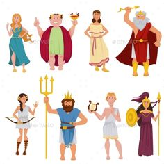 Buy Ancient Greek Gods Vector Cartoon Characters by Sonulkaster on GraphicRiver. Greek gods and goddesses cartoon characters of Ancient Greece Olympia. Vector funny smile Zeus, Aphrodite or Poseidon. Greek Gods And Goddesses, Greek Mythology, Cartoon Art, Cartoon Characters, Greek Godesses, Greek Icons, Vector Logo Design, Graphic Design, Fantasy Map