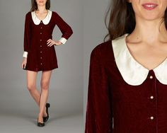 Vintage 60s Small Ruby Red Velvet Mod Minidress by CottonCandyNYC