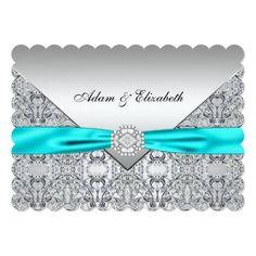 #weddinginvitation #weddinginvitations (Elegant Silver and Teal Blue Lace Wedding Card) #Aqua #AquaWedding #Blue #Classy #Diamond #DiamondWedding #Elegant #ElegantTealWedding #LaceWedding #Silver #Teal #TealWedding #Turquoise #Wedding #White is available on Custom Unique Wedding Invitations store http://ift.tt/2aY3vEB