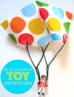 kids craft : toy parachute. take it to the playground and drop it from the top of the slide