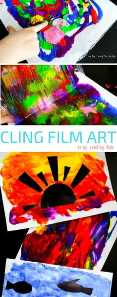 Arty Crafty Kids Art Cling Film Art A fun art idea for kids that great for colour mixing and mess free sensory art. Projects For Kids, Kids Crafts, Arts And Crafts, Clay Projects, Family Art Projects, Quick Crafts, Cool Art Projects, Decor Crafts, Kindergarten Art