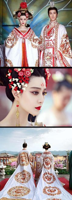 Ancient Chinese fashion and costumes seen in period drama and films. 'The Empress of China' Fan Bing Bing and Aarif Lee #chinesecelebrities