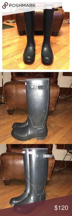 Women's Original Tall Hunter Boots Matte Navy Blue - great condition. Very lightly worn. Hunter Boots Shoes Winter & Rain Boots