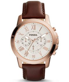 Fossil Grant Chronograph Brown Leather Men's Watch:  Rich brown leather pairs with punctuated Roman numerals to give the classic Grant watch its form. It's got everything for the best dressing-up sessions. Not every chronograph is made for that and the interchangeable strap makes it all the more enticing.