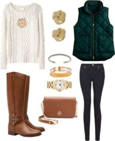 cable knit sweater creme casual jewels forest green brown leather boots jacket puffy green classy clothes winter sweater fall sweater fall outfits