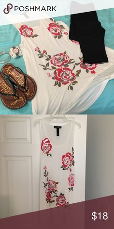 INC Tunic White INC tunic tank top with pink and silver roses.  Looks great with leggings.  Like new.  From clean, smoke free home. INC International Concepts Tops Tunics