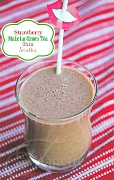 Strawberry Matcha Green Tea Chia Smoothie Recipe - Jeanette's Healthy Living