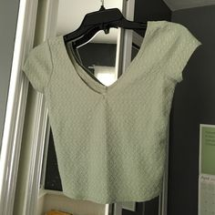 Light green Hollister Crop Top Textured light green crop top. Worn Once Hollister Tops Crop Tops