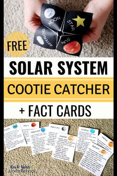 This solar system activity is awesome hands-on learning fun. Your kids will have a blast with this solar system cootie catcher + planet fact cards. Easy way to get your kids excited about science! Solar System Games, Solar System Activities, Space Activities For Kids, Space Solar System, Solar System Crafts, Card Games For Kids, Science For Kids, Science Activities, Science Projects