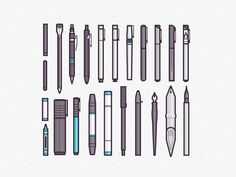 Drawing Collection, Ryan Putnam, Thick outer line on icons. Simple neutral colour palette with turquoise highlight colour, flat, 2d look with grey gradients. Design by Ryan Putnam