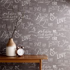 Graham & Brown Chalk board grey, from Graham and Brown Fresco range, is a contemporary typographic wallpaper design in a sophisticated grey colourway that allows you to add a great design to your walls at a really impressive price. Graphic Wallpaper, Unique Wallpaper, Grey Wallpaper, Contemporary Wallpaper, Brick Wallpaper, Hallway Wallpaper, Fresco, Chalkboard Wallpaper, Chalkboard Background