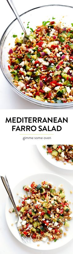 Mediterranean Farro Salad Mediterranean Salad -- full of delicious fresh ingredients, and it's quick and easy to make! Mediterranean Farro Salad Recipe, Mediterranean Recipes, Healthy Salad Recipes, Vegetarian Recipes, Cooking Recipes, Farro Recipes, Healthy Snacks, Summer Salads, Soup And Salad