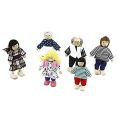 WINOMO 6pcs Puppet Toys Wooden Cartoon Family Dolls for Children Play House Gift ** Want additional info? Click on the image.
