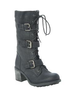 """<p>Combat inspired lace-up boot with buckle strap detailing. Side zip closure.</p>  <ul> <li>12 3/4"""" tall</li> <li>Man-made materials</li> <li>Imported</li> <li>Listed in women's sizes</li> </ul>"""