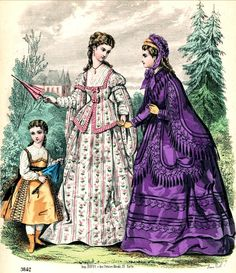 Dress for women and girls, 1872 France, Journal des Demoiselles The one in the middle is so unusual. Victorian Era Fashion, 1870s Fashion, Victorian Women, Vintage Fashion, Victorian Costume, Fashion Prints, Love Fashion, Historical Clothing, Historical Dress