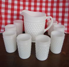 Hobnail Milk Glass Pitcher and Eight Tumblers....hmmm, I only have 4 tumblers and the pitcher...must find 4 more!