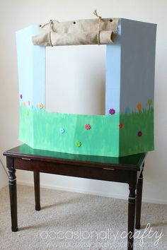 Occasionally Crafty: DIY Puppet Show Theater: Helping Children Express Emotions … – puppets pins Puppet Show Stage, Puppet Show For Kids, Diy For Kids, Crafts For Kids, Diy And Crafts, Arts And Crafts, Helping Children, Finger Puppets, Activities For Kids