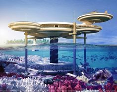 The Water Discus Hotel: World's largest underwater hotel to be built in Dubai. Well below the shores of the Persian Gulf, a portion of the Water Discus Hotel will rest about 33 feet under. The hotel will also feature an above sea level portion, seen here.