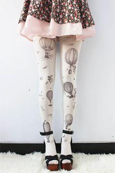 Hot Air Balloon Leggings - Womens Legging - SAGE - Tights - LARGE Pantyhose Tattoo Socks Leggings Tights Stockings Kawaii