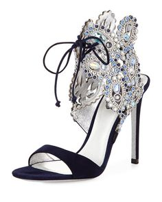 X2RGF Rene Caovilla Crystal Ankle-Tie Evening Sandal, Navy Blue