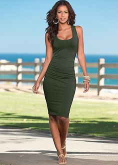 Dark Olive Ruched tank dress from VENUS. Available in sizes XS-XL!