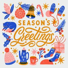 Lettered illustration by Super Nice Letters (Carmi Grau) The Best Of Christmas, Noel Christmas, Best Christmas Cards, Vintage Christmas Cards, Christmas Cookies, Xmas Cards, Holiday Cards, Christmas Graphic Design, Christmas Card Designs