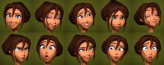 Tarzan female emotions blend shapes morphs reference