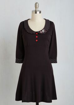Special Delivery Dress - Multi, Black, Polka Dots, Print, Casual, Vintage Inspired, 40s, A-line, Short Sleeves, Fall, Knit, Better, Mid-length, Cotton