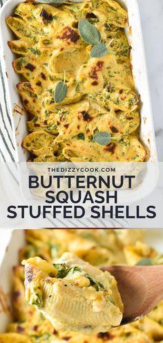 Autumn Pasta Recipes, Autumn Recipes Vegetarian, Easy Pasta Recipes, Vegetarian Meal, Diet Recipes, Stuffed Shells Recipe, Stuffed Pasta Shells, Homemade Vegetable Broth, Squash Pasta