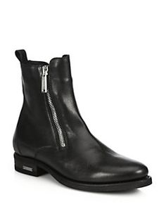 DSQUARED - Side-Zip Leather Ankle Boots
