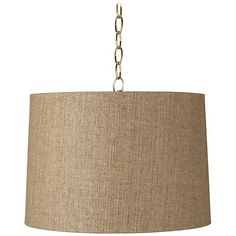 "Tan Woven 16"" Wide Antique Brass Shaded Pendant Light"