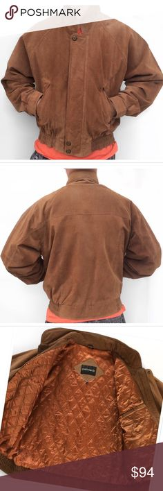 """Vintage Suede Cognac Jacket 22-23 years of age. Fantastic pre-loved condition. Only worn a handful of times. Still needs to be """"broken in"""" and could go for a little 5 min freshen up cleaning, but I will leave that for you to decide. No rips, tears, scratches, .. inner lining is magnificent. Labeled a sz Large, exact measurements: 48""""-49"""" Chest. 26"""" Length. Full front zip closure snap front zipper cover. Snap cuffs. Elastic waistband. Pierre Cardin Jackets & Coats Bomber & Varsity"""