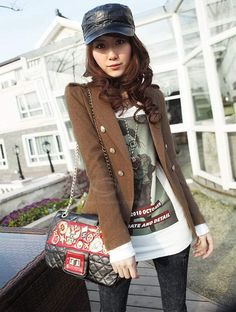 Modern Style Double Breasted Slimming Lapel Long Sleeve Worsted Blazers For Women (KHAKI,S) China Wholesale - Sammydress.com