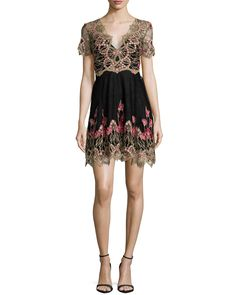 Short-Sleeve Embroidered Tulle Cocktail Dress, Size: 2, Black - Marchesa Notte