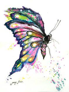 Original Watercolor painting Butterfly.Painting por LimonArtStudio