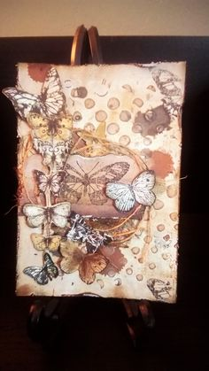 Scrapbooking card vintage style. Butterflies and texture!