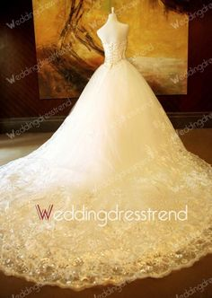 Best Retro Princess Sweetheart Crystal Lace Tulle Wedding Dress