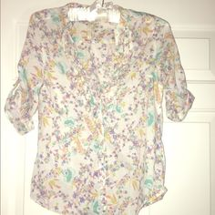 Lauren Conrad blouse! Adorable Lauren Conrad button down in excellent used condition. Really pretty detail and roll up sleeves. XS but would fit a S as well in my opinion LC Lauren Conrad Tops Button Down Shirts