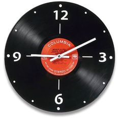 Vintage vinyl LP record wall clock made out of a real record album. Old Vinyl Records, Vinyl Record Art, Record Wall, Vinyl Art, Cool Clocks, Unique Wall Clocks, Diy Wall Clocks, Vinyl Record Projects, Diy Clock