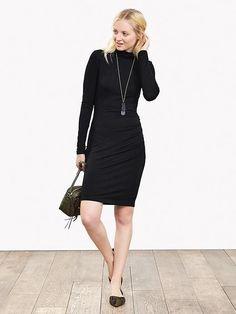 Long sleeve dresses for fall/winter Black Turtleneck Dress