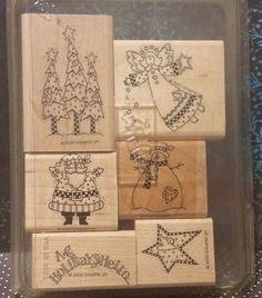 Stampin' Up! Retired HOLIDAY HELLO WM Stamps Angel Santa Snowman Christmas Trees in Crafts, Stamping & Embossing, Stamps | eBay