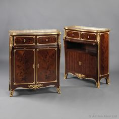 A Fine Pair of Gilt-Bronze Mounted Marquetry Side #Cabinets by Sormani…
