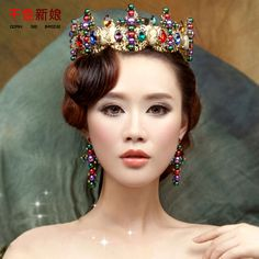 Royal Women Retro Crown whole round Baroque golden Tiara big Queen Diadem prom hair ornaments bridal wedding accessories folu
