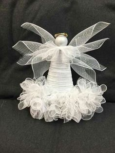 Best 12 Cute and easy to make! Diy Christmas Tree Topper, Diy Tree Topper, Christmas Hat, Christmas Angels, Christmas Decorations, Christmas Ornaments, Angel Ornaments, Deco Mesh Wreaths, Holiday Wreaths