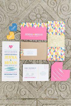 2016 trending Geometric themed wedding invitation cards