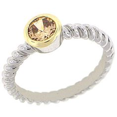 World Class Brilliance with Champagne Cubic Zirconia Stones Two-Tone yellow and white gold overlay Champagne RN4476
