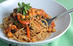 Spaghetti with Spicy Moroccan Chickpeas