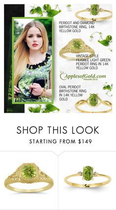 """""""Peridot Ring - ApplesofGold.com"""" by applesofgoldjewelry ❤ liked on Polyvore featuring Apples of Gold and vintage"""
